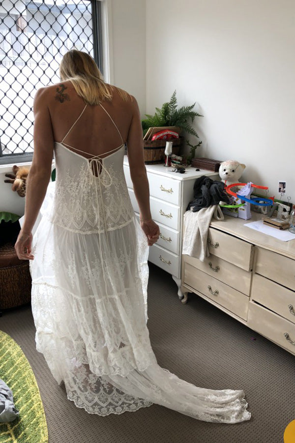 Charming Spaghetti Straps Backless Lace Wedding Dress W820
