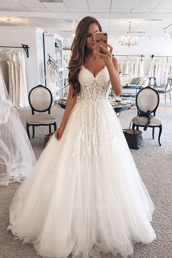 Simple Spaghetti Straps V Neck Sleeveless Ball Gown Floor Length Wedding Dress W394