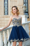 Sexy A-Line  Sweetheart Sleeveless Applique Short Net Homecoming Dresses M329
