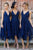 A Line Asymmetrical Tea Length Deep V Neck Spaghetti Sleeveless Cheap Bridesmaid Dresses B202 - Ombreprom