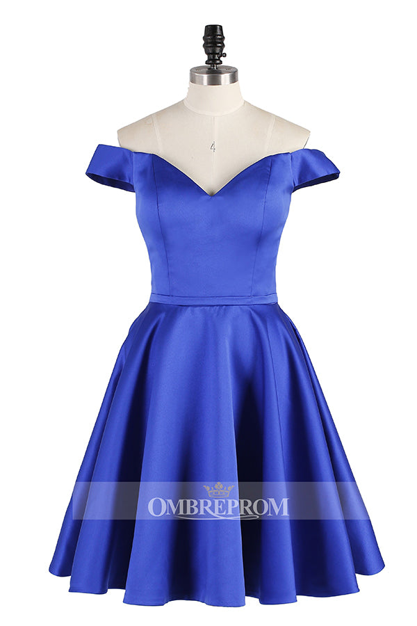 Sexy Sweetheart Knee Length Satin A-line Homecoming Dresses M466