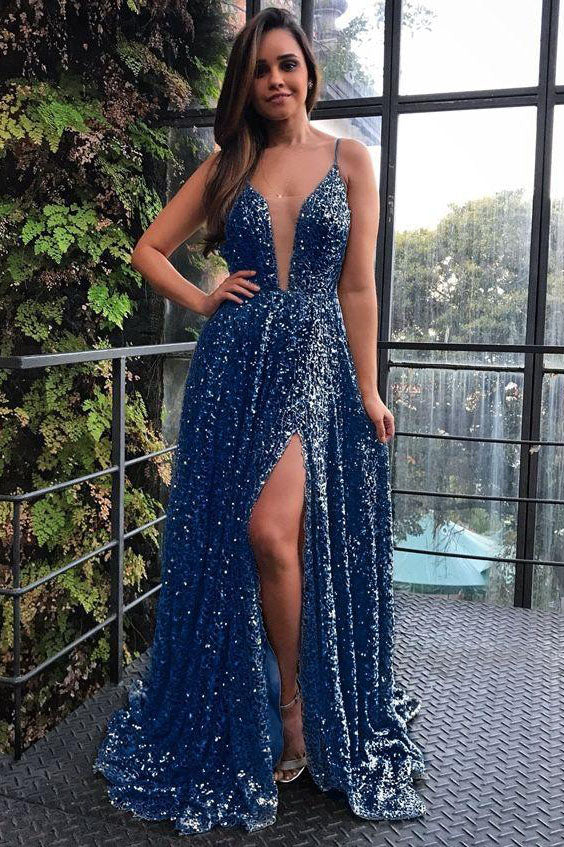 Sparkly Spaghetti Straps V Neck Prom Dress with Split Side D354