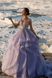 Elegant Ruffles Sweep Train Tulle A Line With Beading Prom Dress P702