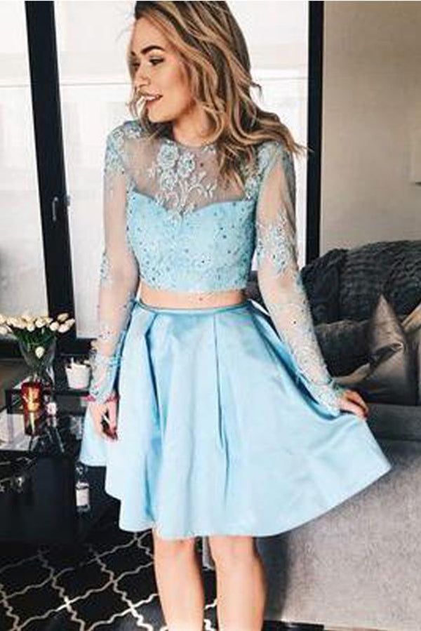 be33a5b5c7 Cute Two Pieces Round Neck Long Sleeves Lace Homecoming Dress M601 ...