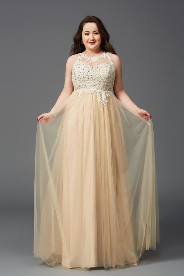 da34ad8bb9c23c Charming Sleeveless Plus Size Lace Appliques Beaded Tulle Floor Length Prom  Dress P782