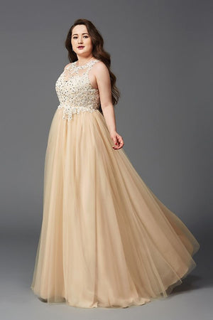 Charming Sleeveless Plus Size Lace Appliques Beaded Tulle Floor Length Prom Dress P782