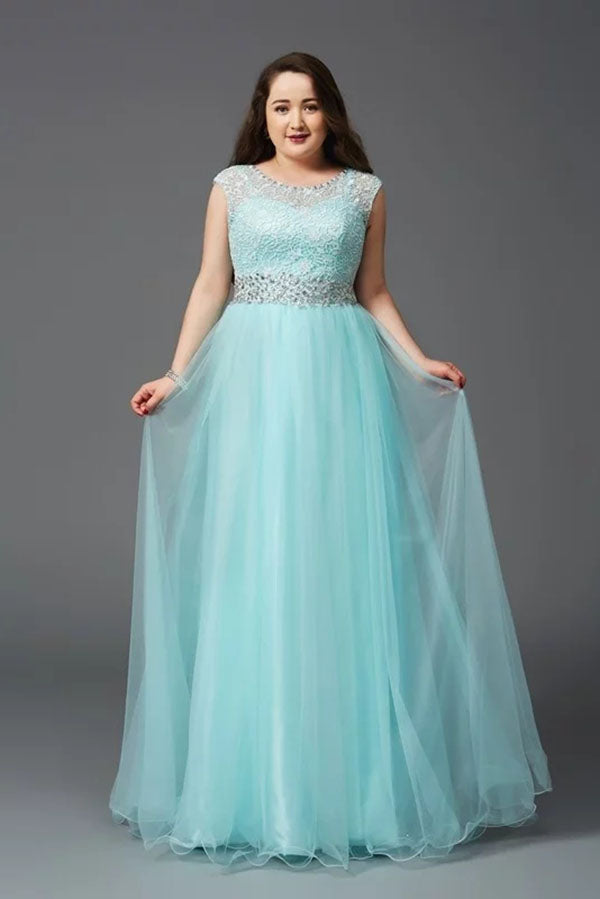 Stunning Round Neck Sleeveless A Line Tulle Plus Size With Beading Prom Dress P776