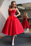 Chic Red Sweetheart Spaghetti Straps A Line Homecoming Dress M602