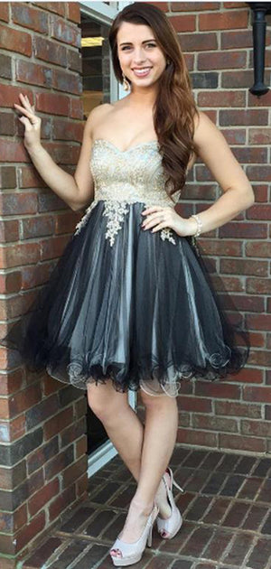 Delicate Sweetheart A Line With Appliques Knee Length Homecoming Dress M603
