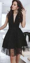 Charming Black Deep V Neck Sleevelesss Homecoming Dress M605 - Ombreprom