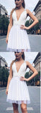 Elegant Deep V Neck Open Back Sleeveless Homecoming Dress M606