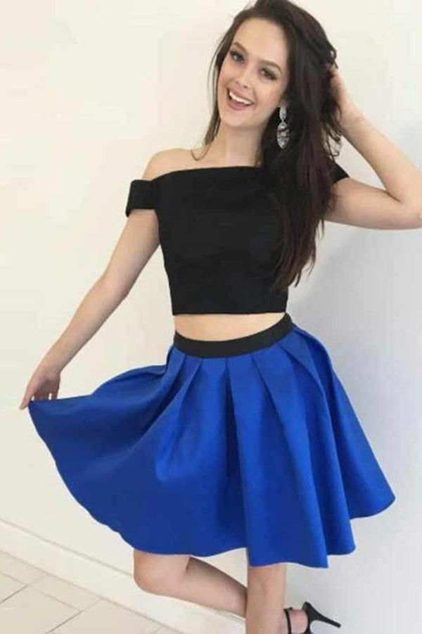 Cute Two Piece Off the Shoulder Satin A Line Homecoming Dress M610