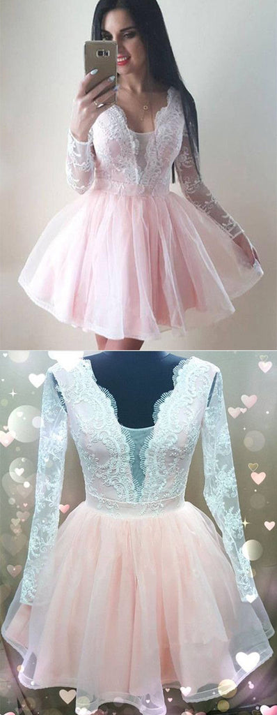 Chic V Neck Long Sleeve With Lace Appliques Homecoming Dress M611
