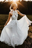 Charming A Line Halter Sleeveless Chiffon Long Beach Wedding Dresses W460 - Ombreprom