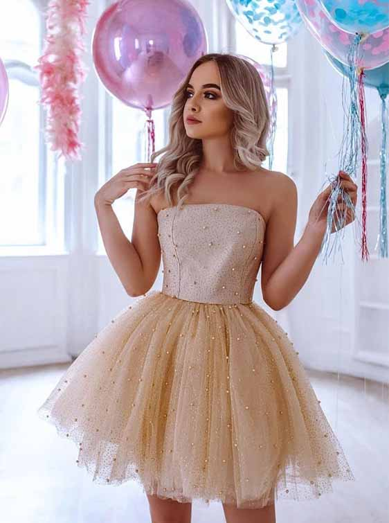 Strapless Sequins Homecoming Dress Tulle Pearls Cocktail Dress M770