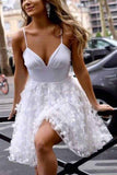 White Spaghetti-straps V-neck Short Prom Homecoming Dress With Appliques M769