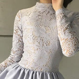 Delicate Round Neck Long Sleeves A Line With Appliques Homecoming Dress M621