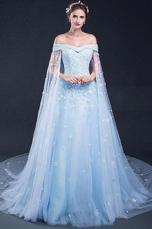 49a185c0983 Gorgeous Tulle Off the Shoulder Blue With Lace Appliuqes Prom Dress P728