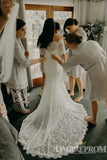 Gorgeous Off Shoulder Short Sleeves Lace Mermaid Wedding Dresses W570