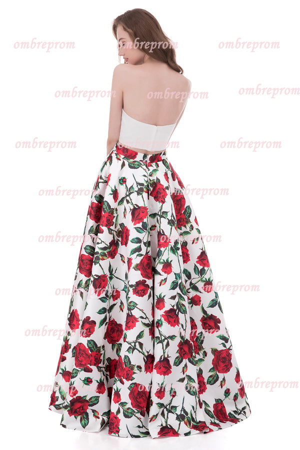 Two Piece Floral A Line Strapless Sleeveless Mid Back Cheap Prom Dress,Formal Dress P262 - Ombreprom