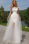 Gorgeous Round Neck Sleeveless Lace Appliques Tulle Wedding Dresses W379