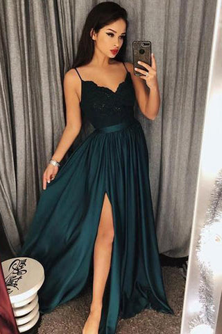 Sexy Satin Appliques Straps Sweep Train Prom Dresses P604