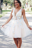 A-line V-neck Short Prom Dress, Knee-length Homecoming Dress with Appliques M805