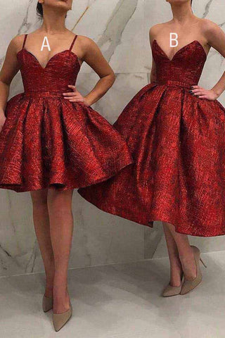 Sparkly Burgundy Short Prom Dress, Sequins Homecoming Dress M780