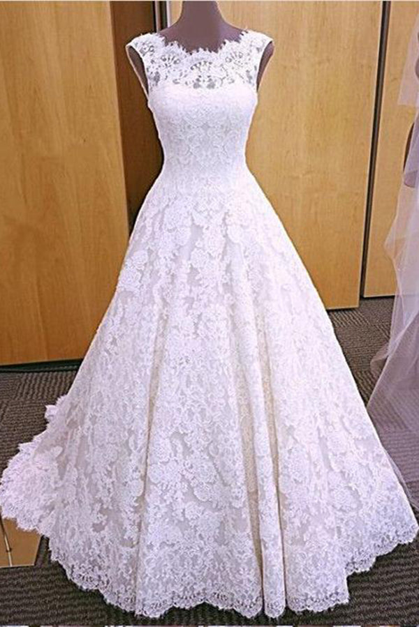 Chic Round Neck Open Back A Line Sleeveless Lace Appliques Wedding Dresses W385