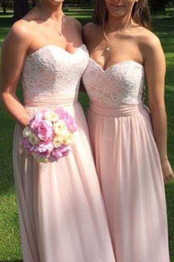 Chic A Line Pink Sweetheart Lace Chiffon Sleeveless Bridesmaid Dress B441