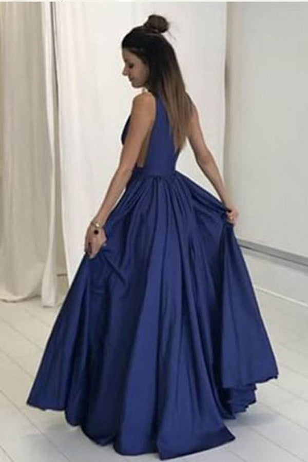 Royal Blue A Line Floor Length Deep V Neck Sleeveless Deep V Back Evening/Prom Dress P75 - Ombreprom