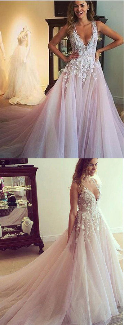 Chic Flower Appliqued Light Pink Wedding Dresses With Chapel Train ...
