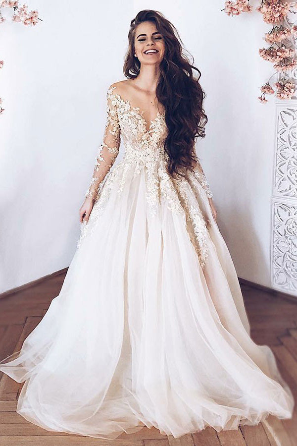 14cb2231bce Elegant Long Sleeves A Line Tulle With Appliques Wedding Gown Wedding Dress  W404