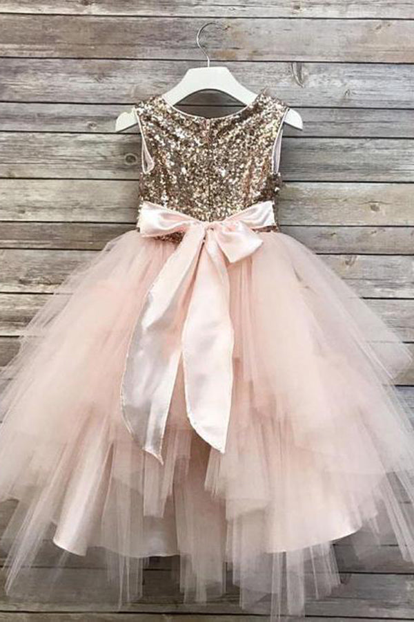 Stunning Round Neck With Sequins Ball Gown Bowknot Flower Girl Dresses F72
