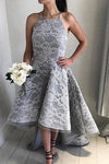 Gray A Line Asymmetrical Halter Sleeveless Lace Cheap Prom Dress,Formal Dress P267