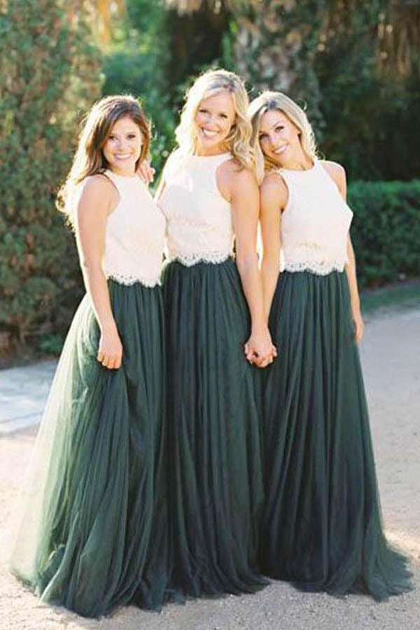 Elegant Sleeveless Lace Tulle Long Bridesmaid Gown B358