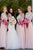 Simple Pink Round Neck Chiffon Long Formal Bridesmaid Dress B440