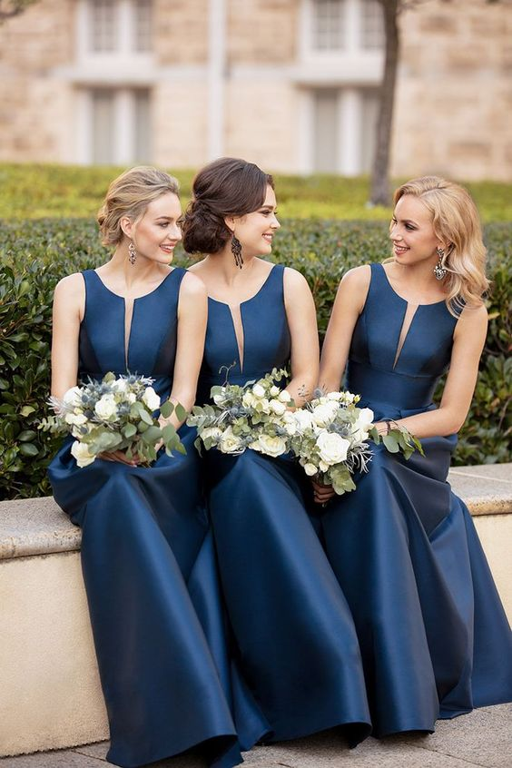 Modest A-line Satin Long Sleeveless Floor Length Simple Cheap Bridesmaid Dresses Prom Gowns B374