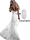Gorgeous Sweetheart Low Back Lace Wedding Dresses Long Bridal Dress W654