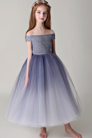 5cf9403ec74 Chic Off The Shoulder Sleeveless Tulle Sequins Floor Length Flower Girl  Dresses F87
