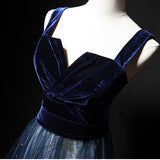 Stunning Spaghetti Straps Velvet V Neck With Sequins Long Party Dress Prom Dress P797