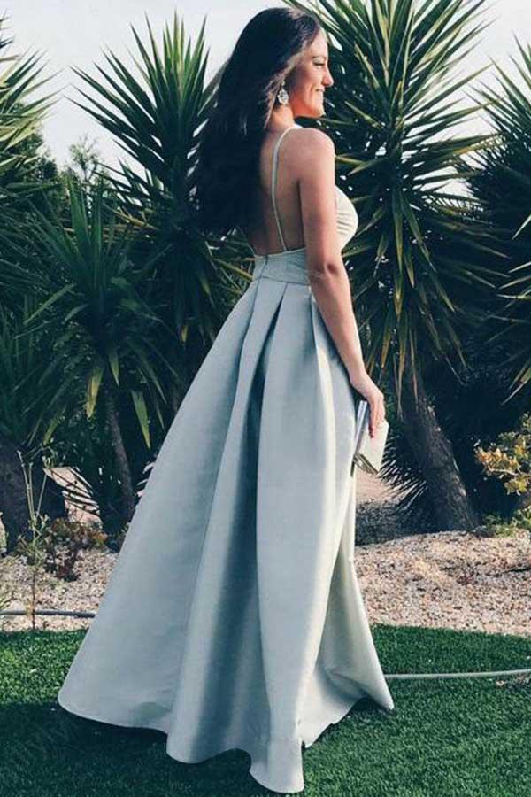 Sexy Backless Spaghetti Straps V Neck Floor Length Prom Dress P707