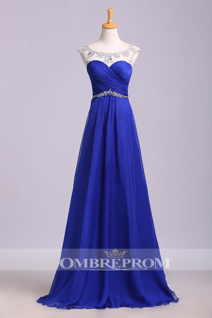 Chic Sweetheart Cap Sleeves Open Back Chiffon Floor Length Prom Dress P762