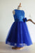 Blue A Line Floor Length Scoop Neck Sleeveless Sequins Flower Girl Dresses,Baby Dress F35