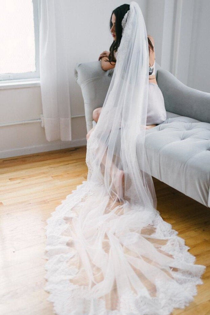 Alencon Lace Trim Long Ivory With Applique Wedding Bridal Veil V13 - Ombreprom