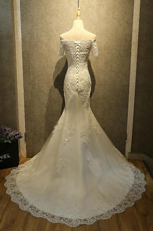 Off Shoulder Watteau Train Formal Dress,Mermaid Wedding Dress With Lace,Wedding Dress With Beading - Ombreprom