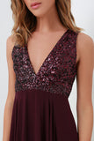 Burgundy A Line Floor Length Deep V Neck Sleeveless Bridesmaid Dress, Wedding Party Dress B309
