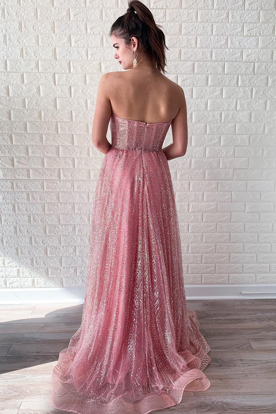 Stunning Sweetheart Low Back A Line Prom Dress with Sequins D371