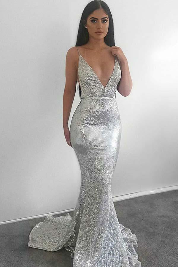 Stunning Sexy Spaghetti Straps V Neck With Sequines Prom Dress P706