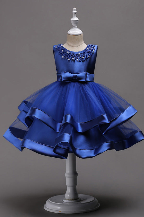 Cute Blue Satin Round Neck With Beaded Ball Gown Flower Girl Dresses F80